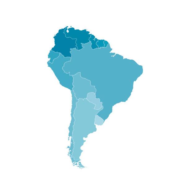 stockillustraties, clipart, cartoons en iconen met vector illustratie met kaart van zuid-amerika continent. blauwe silhouetten - zuid