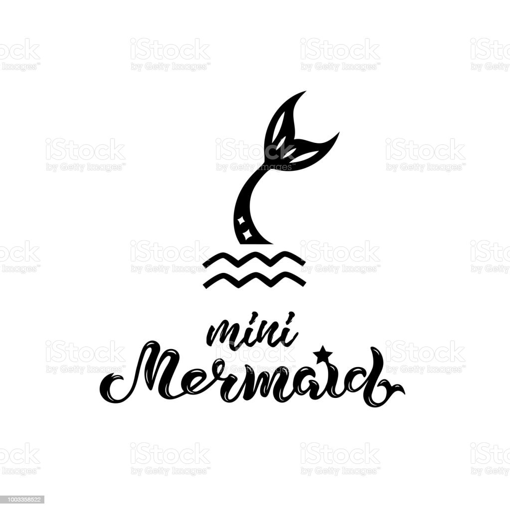 Vector Illustration With Mermaid Tail Mermaid Handwritten Lettering