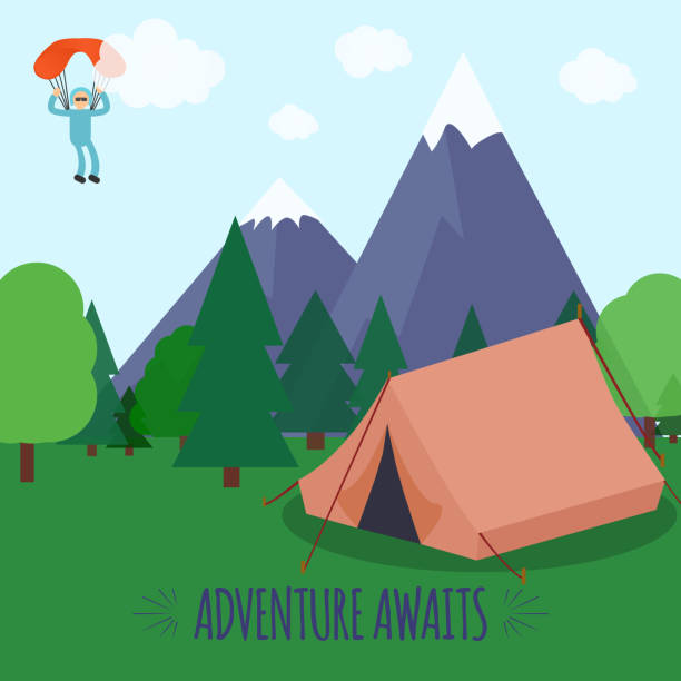 Vector illustration with mountains, tent in forest and paraplanerist in sky. Adventure Awaits Text. vector art illustration