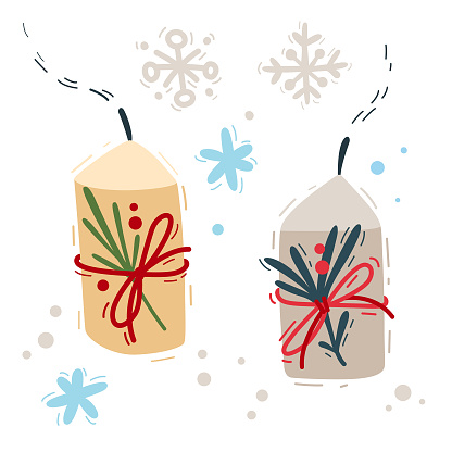 Vector illustration with New Year's elements. Doodle candles are decorated for Christmas decor. Fir branches, berries, snowflakes. Collection elements for card, invitation, wrapping paper, wallpaper