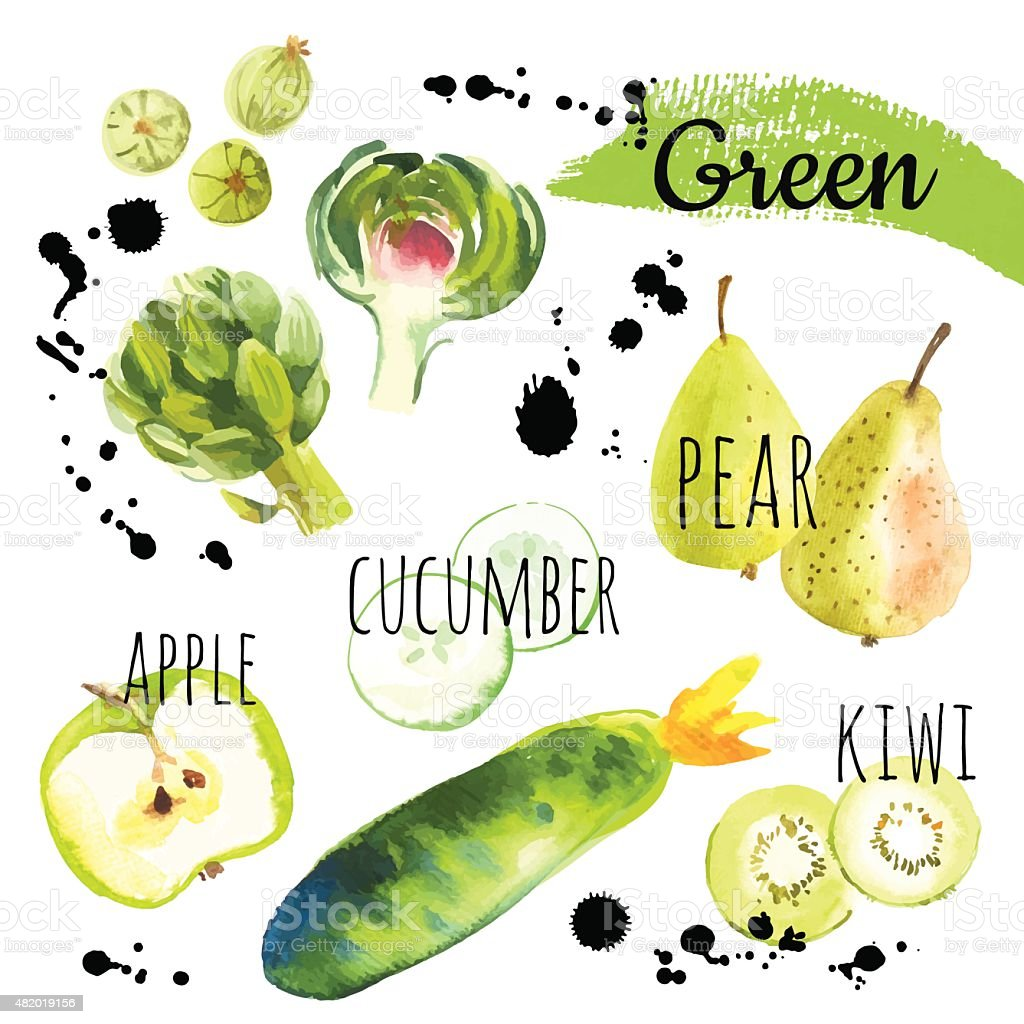 Vector Illustration with only green fruits & vegetables. vector art illustration