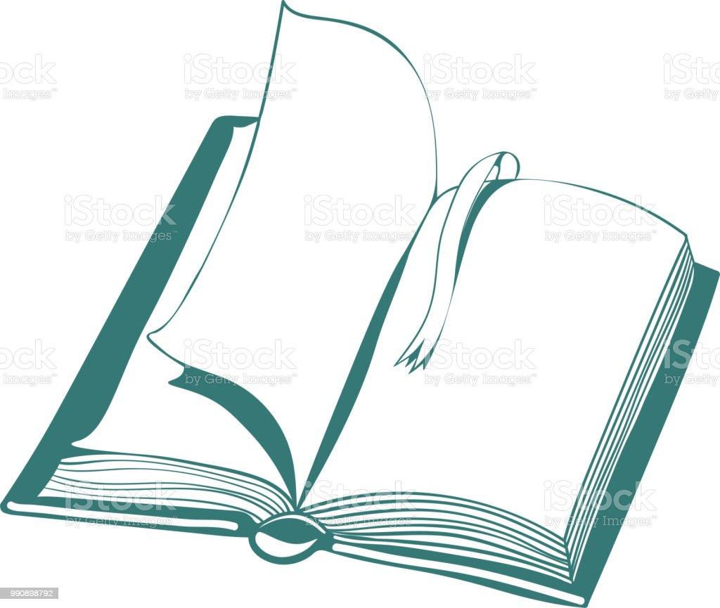 Dessin Dillustration Vectorielle Avec Livre Ouvert Et Un