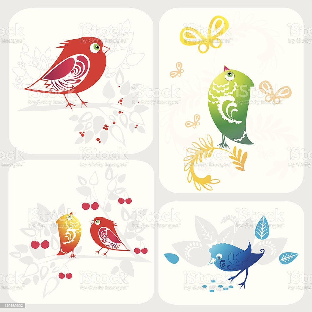 Vector illustration with ornamental birds royalty-free stock vector art