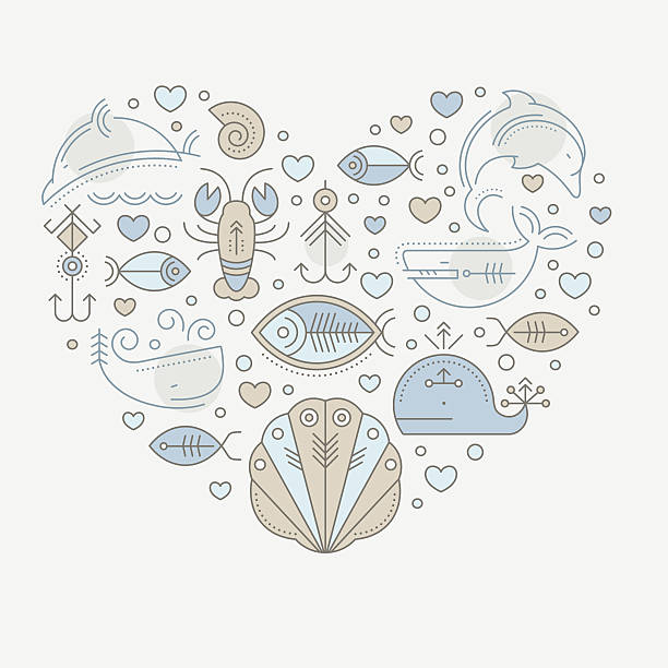 vector illustration with outlined nautical seafaring signs and marine animals - haifischköder stock-grafiken, -clipart, -cartoons und -symbole