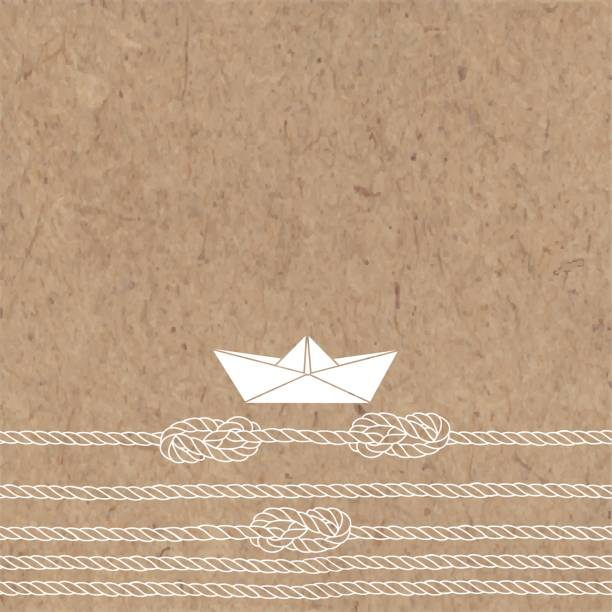 Vector illustration with paper boat,  sea ropes, knots  and  place for text on a kraft background. vector art illustration