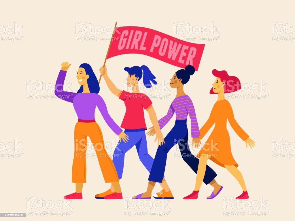 11d4111daa454 Ilustração vetorial com o poder feminino de frase - movimento feminista  vetores de ilustração vetorial com