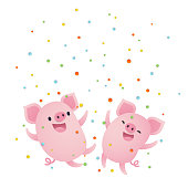 Vector illustration, cute cartoon pigs and confetti background.