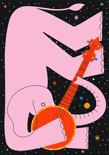 Vector illustration with pink elephant playing red banjo. Colored stars and planets on background.