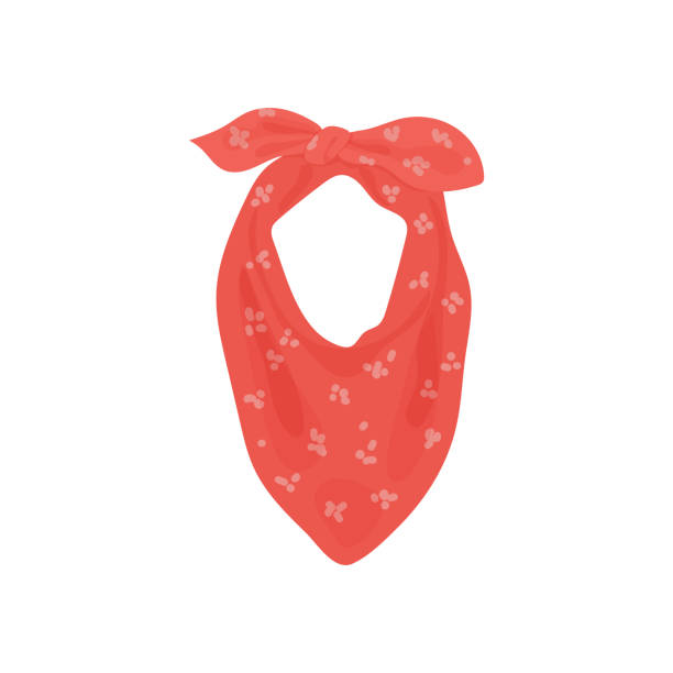 Vector illustration with pink feminine floral neckerchief. Women's clothing, scarf or bandana for travel and vacation Vector illustration with pink feminine floral neckerchief. Women's clothing, scarf or bandana for travel and vacation headscarf stock illustrations