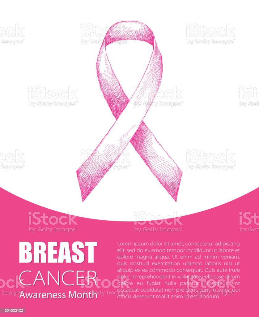 Vector illustration with pink ribbon isolated on white background. vector art illustration