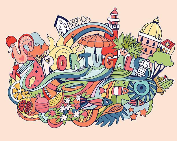 Vector illustration with Portugal vector art illustration
