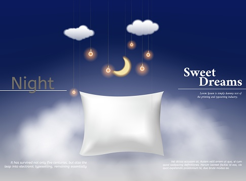 Vector illustration with realistic 3d square pillow for the best dreams ever, comfortable sleep. Soft cushion. Relaxation, sleeping concept. Night, clouds, stars background.