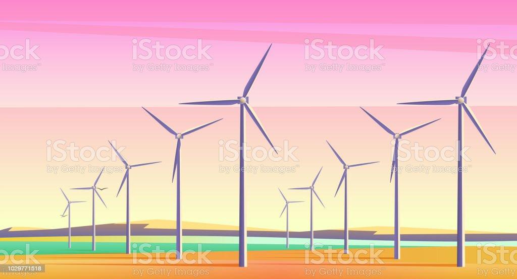 Ilustración de vector con Molinos de rotación para recursos de energía alternativa en amplio campo con rosa cielo al atardecer. Efecto de ruido de la cámara de película. - arte vectorial de Aerogenerador libre de derechos