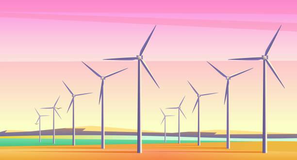 vektör çizim döndürme yel pembe günbatımı gökyüzü ile geniş alan alternatif enerji kaynağı. film kamera gürültü efekti. - rüzgar değirmeni stock illustrations