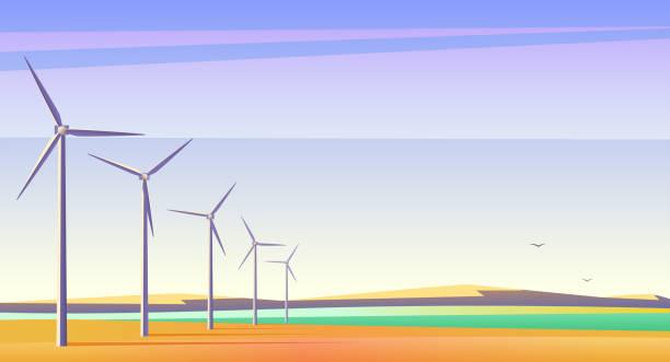 ilustrações de stock, clip art, desenhos animados e ícones de vector illustration with rotation windmills for alternative energy resource in spacious field with blue sky. - alter do chão