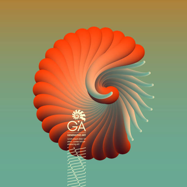 3D vector illustration with seashell nautilus. Object with smooth shape. Can be used for advertising, marketing, presentation, card and flyer. 3D vector illustration with seashell nautilus. Object with smooth shape. Can be used for advertising, marketing, presentation, card and flyer. nautilus shell stock illustrations