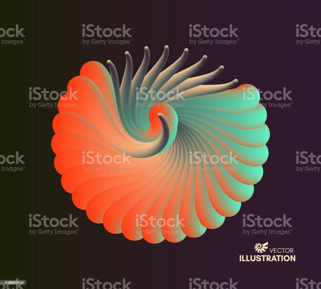 3D vector illustration with seashell nautilus. Object with smooth shape. Can be used for advertising, marketing, presentation, card and flyer. vector art illustration