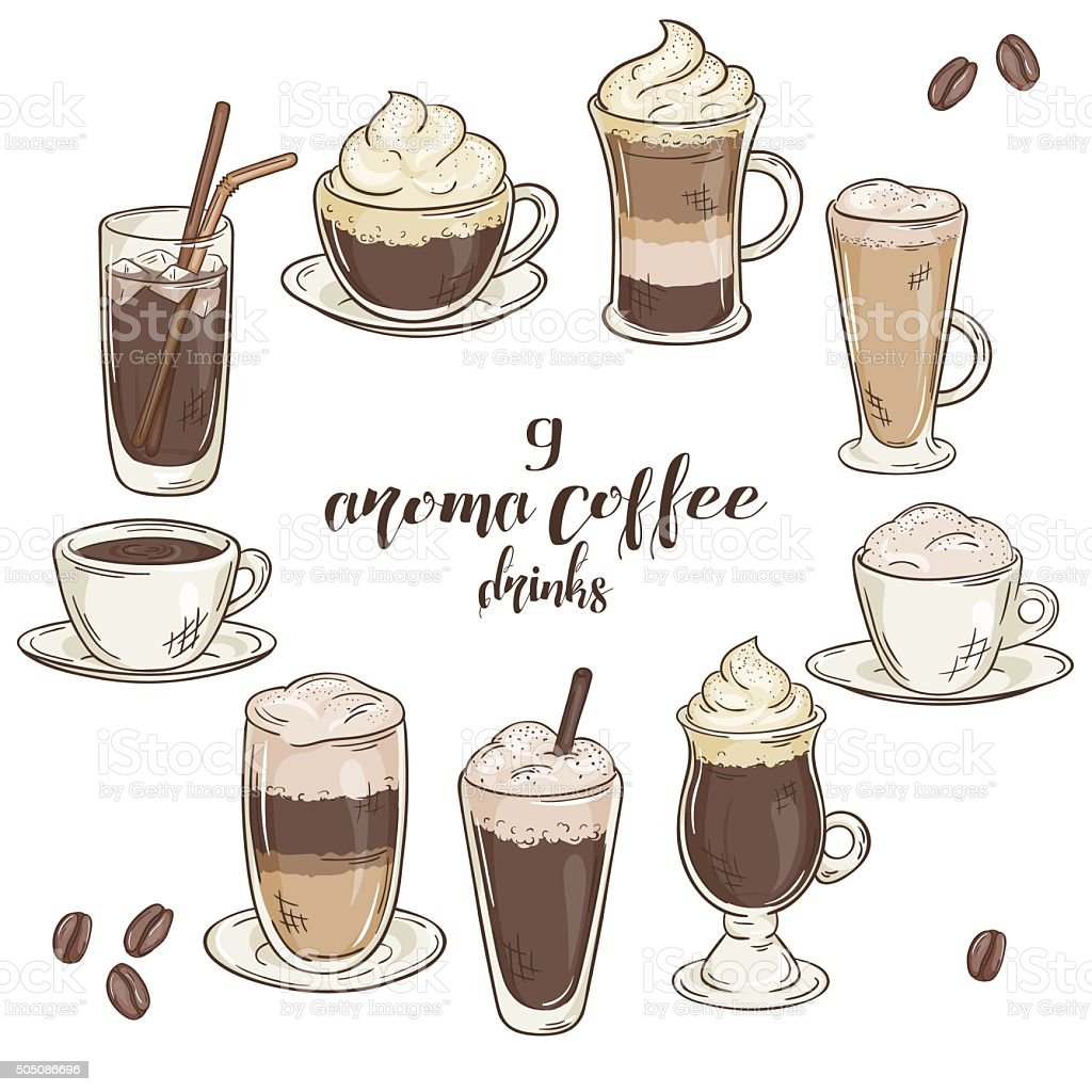 vector illustration with set of isolated cup of coffee drinks vector art illustration