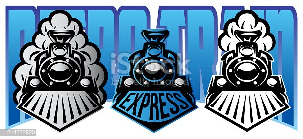Vector illustration with set of moving retro locomotives with smoke.