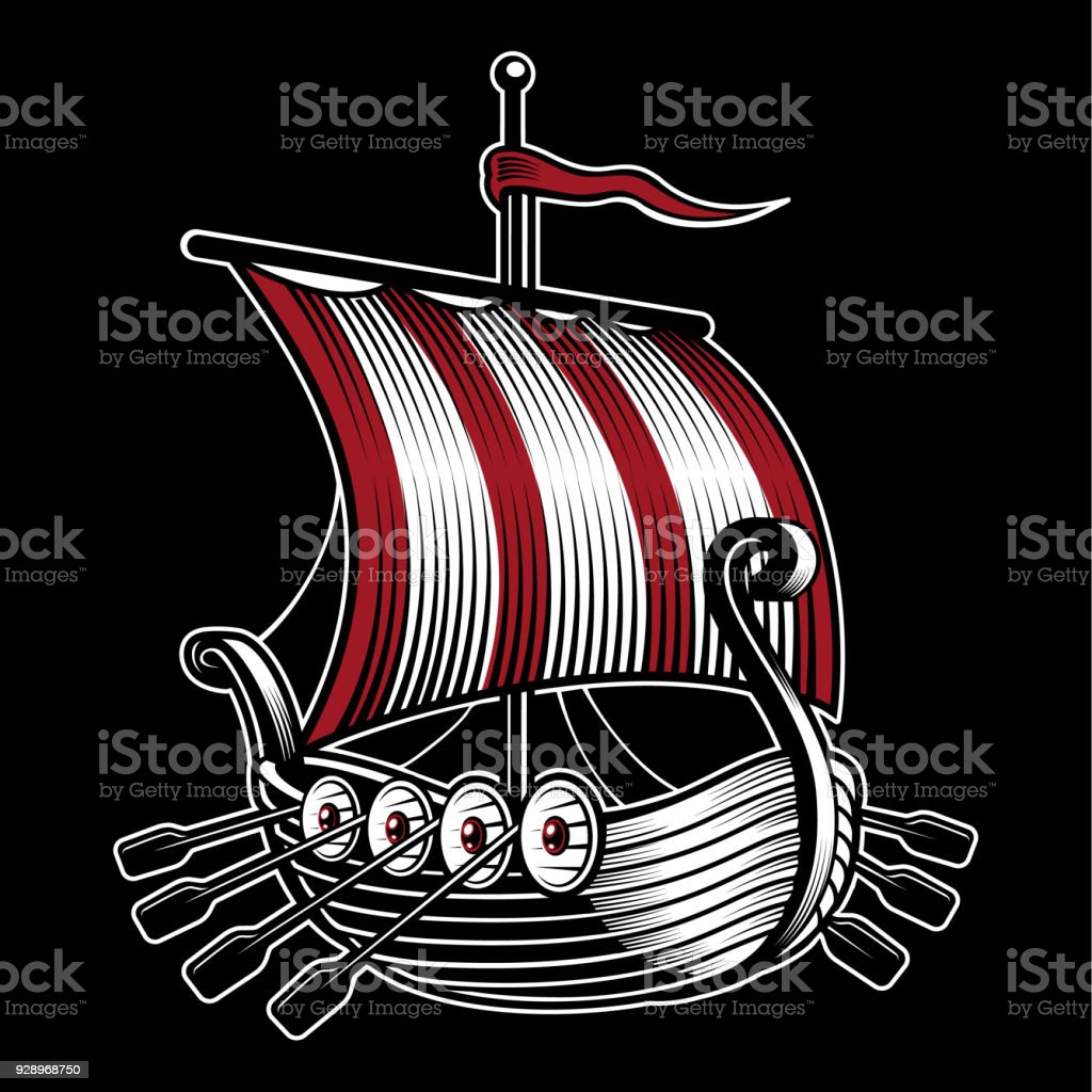Vector Illustration With Ship Of Viking Stock Illustration ...