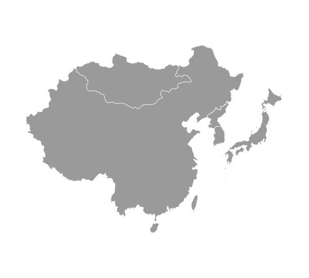 stockillustraties, clipart, cartoons en iconen met vector illustratie met vereenvoudigde kaart van aziatische landen. regio oost. staten grenzen van china, japan, zuid-en noord-korea, taiwan, mongoloia. - zuid korea