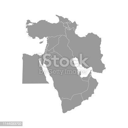 istock Vector illustration with simplified map of Asian countries. Middle East. States borders of Turkey, Georgia, Armenia 1144033702