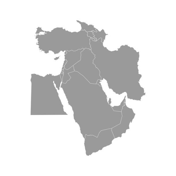 Vector illustration with simplified map of Asian countries. Middle East. States borders of Turkey, Georgia, Armenia Vector illustration with simplified map of Asian countries. Middle East. States borders of Turkey, Georgia, Armenia, United Arab Emirates, Saudi Arabia, Qatar, Oman, Iran, Israel. Grey silhouette south caucasus stock illustrations