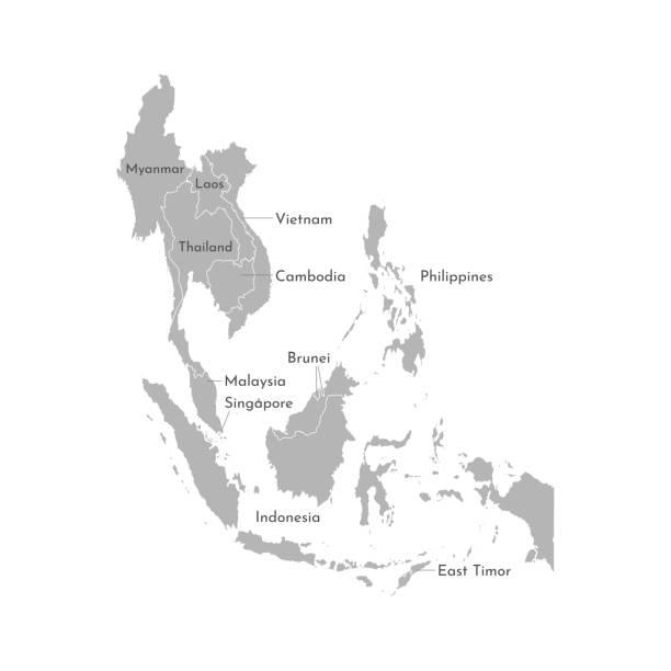 stockillustraties, clipart, cartoons en iconen met vector illustratie met vereenvoudigde kaart van aziatische landen. regio zuid-oost. staten grenzen van myanmar, brunei, indonesië, vietnam - laos indochina