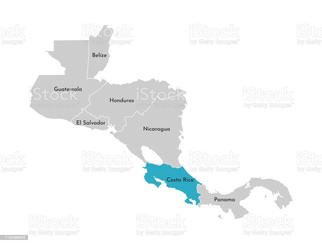 Costa Rica Karte Mittelamerika.Vektorabbildung Mit Vereinfachter Karte Der Region Mittelamerika Mit