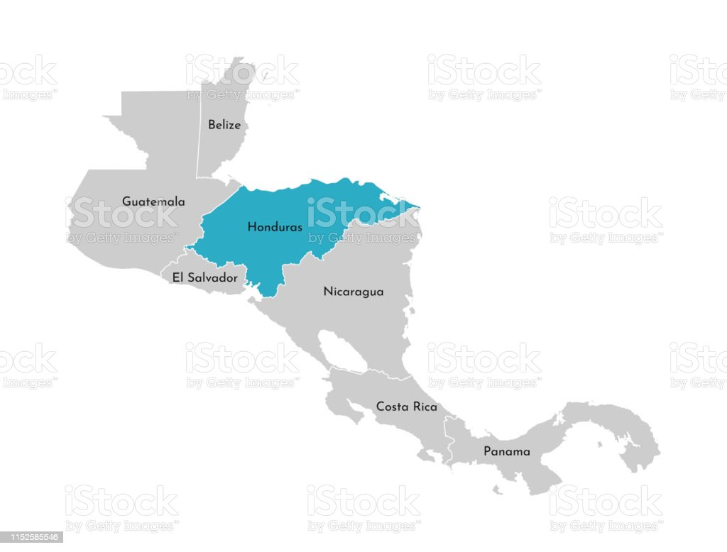 Vector Illustration With Simplified Map Of Central America ...
