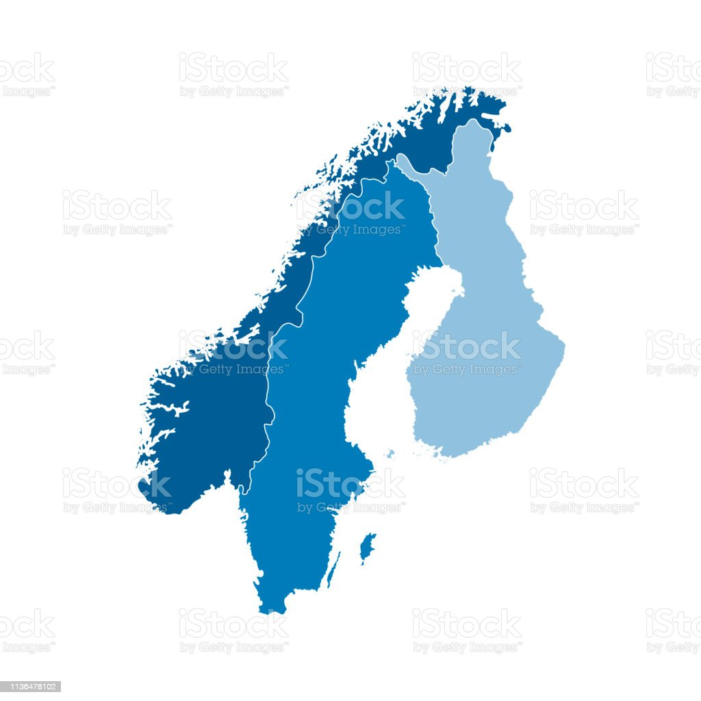 Picture of: Vector Illustration With Simplified Map Of European Scandinavian States Stock Illustration Download Image Now Istock