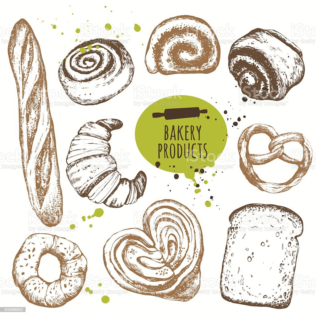 Vector illustration with sketch bakery products. - Illustration vectorielle