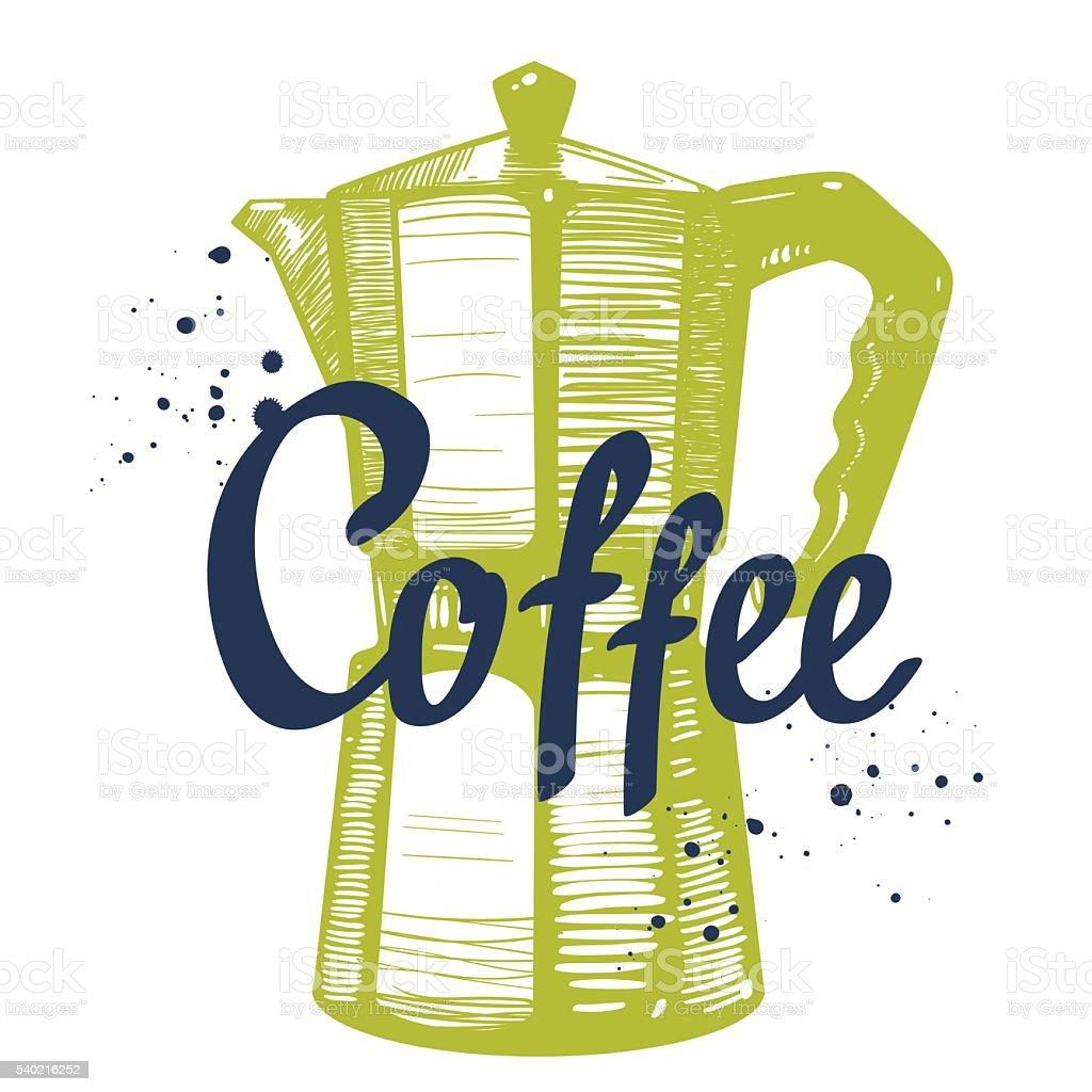 Ilustração vetorial com desenho de gêiser cafeteira. - ilustração de arte em vetor