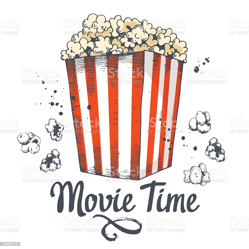 Vector illustration with sketch popcorn bucket. Cinema snack. Hand drawn vector art illustration