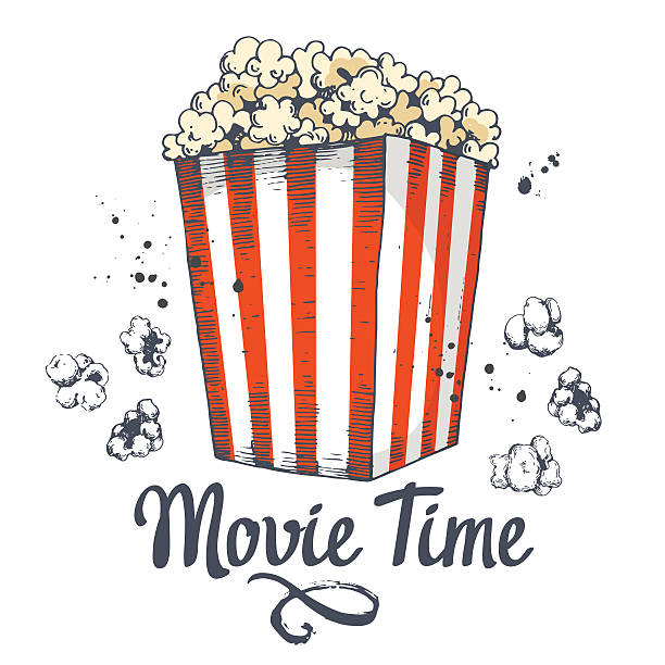 stockillustraties, clipart, cartoons en iconen met vector illustration with sketch popcorn bucket. cinema snack. hand drawn - popcorn