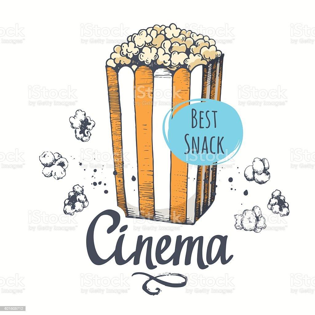 Vector illustration with sketch popcorn bucket.  design. Cinema snack. Hand vector illustration with sketch popcorn bucket design cinema snack hand - immagini vettoriali stock e altre immagini di arredamento royalty-free