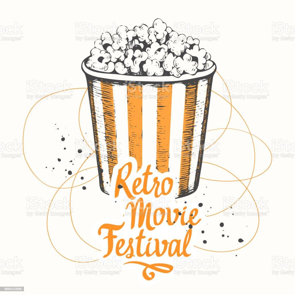 Vektorillustration Mit Skizze Popcorn Eimer Design Kinosnack ...