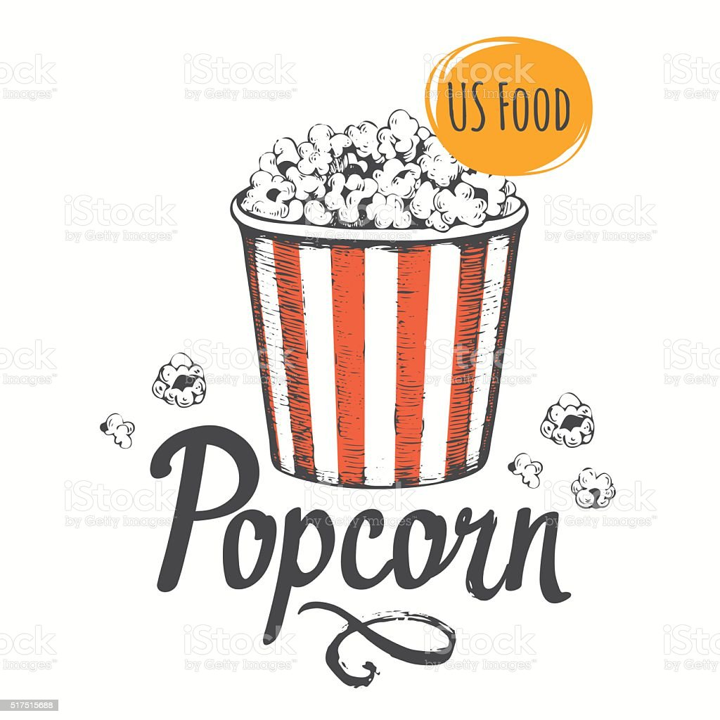 Vector illustration with sketch popcorn bucket. vector art illustration