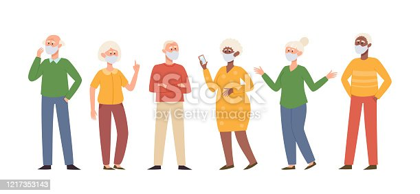 Vector illustration with standing old men and women in medical face mask isolated on white. Different senior characters in prevention masks from urban air pollution, airborne diseases, coronavirus.