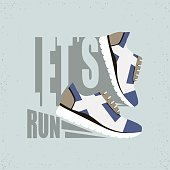 Vector illustration with text Let's run. Running shoes with shadow.