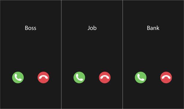 illustrazioni stock, clip art, cartoni animati e icone di tendenza di vector illustration with the inscription: boss, job, bank caller. phone interface with two icons accept or reject a call - entrare