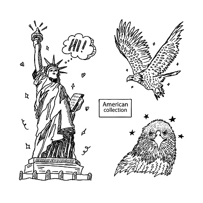Vector illustration with the Statue of Liberty and an eagle. Collection of sketches for American holidays, print for T-shirts, cards, posters for Independence Day.