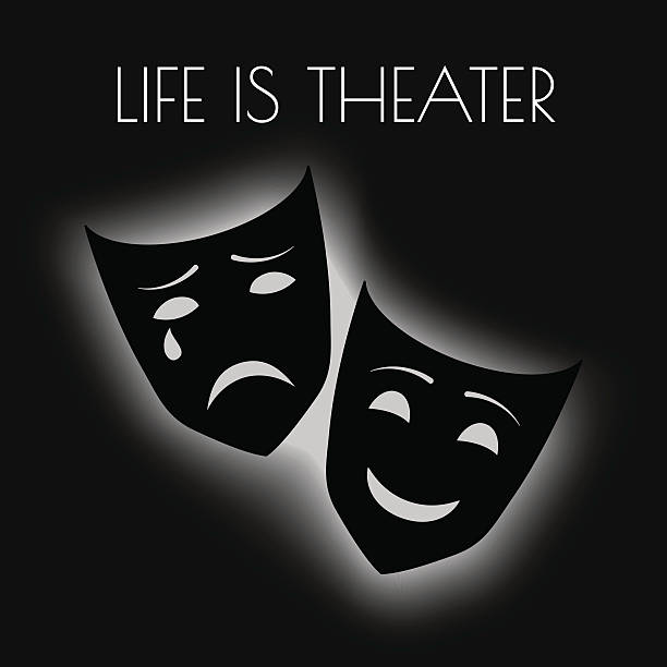 vector illustration with theater masks and profound quote - paphos stock-grafiken, -clipart, -cartoons und -symbole