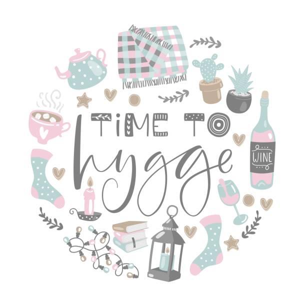 ilustrações de stock, clip art, desenhos animados e ícones de vector illustration with time to hygge lettering and cozy home things. danish living concept. hand drawn style. - hygge