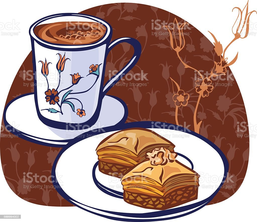 Vector Illustration With Turkish Coffee And Baklava Stock ...