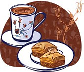 Vector illustration with turkish coffee and baklava