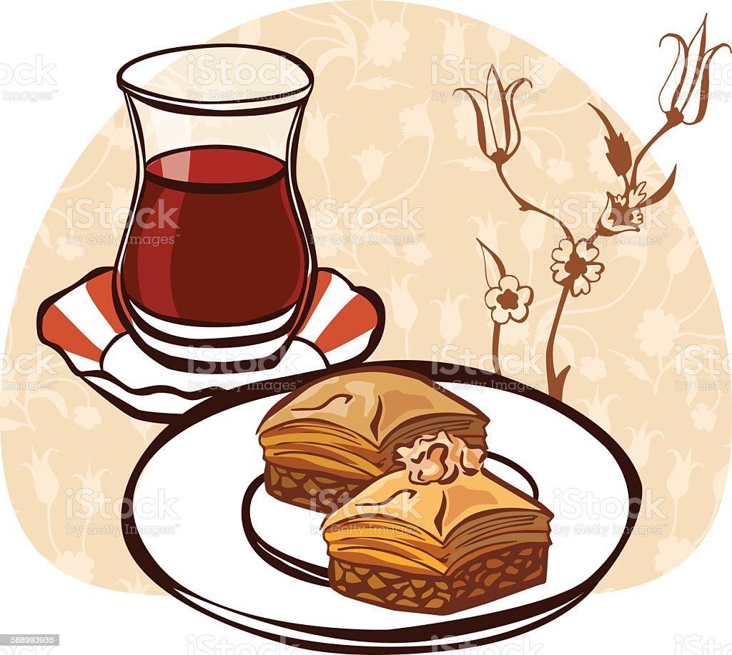 Vector illustration with turkish tea and baklava vector art illustration