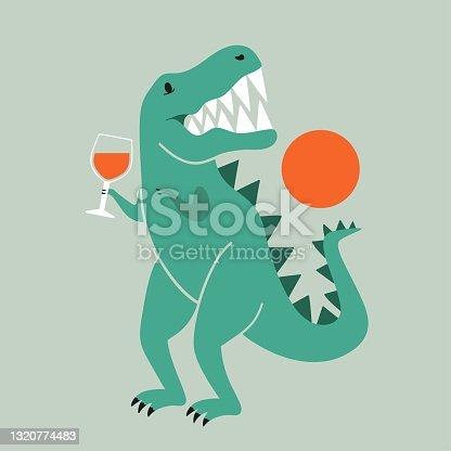 Vector illustration with tyrannosaurus dinosaur holding glass of red wine.