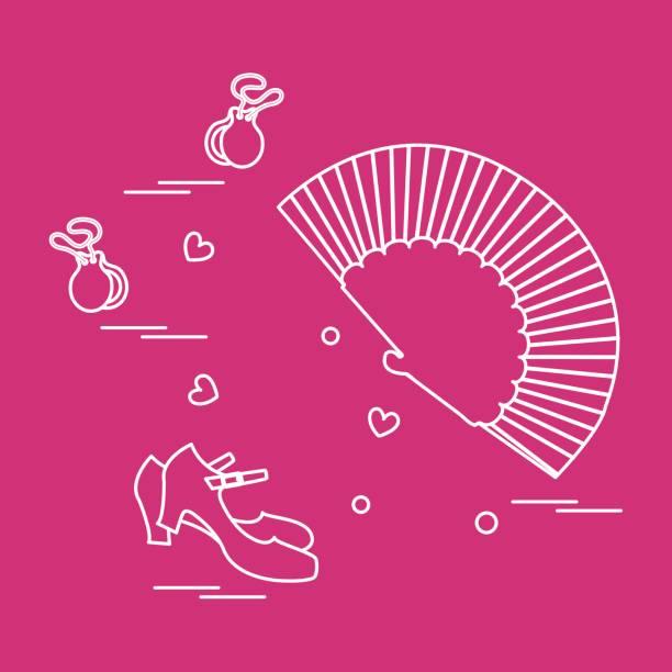 stockillustraties, clipart, cartoons en iconen met vectorillustratie met verschillende symbolen van de danscultuur van spanje. reizen en vrije tijd. - castagnetten