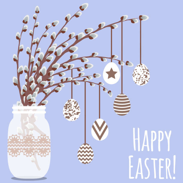 vector illustration with vase, pussy willow and eggs - palm sunday stock illustrations, clip art, cartoons, & icons